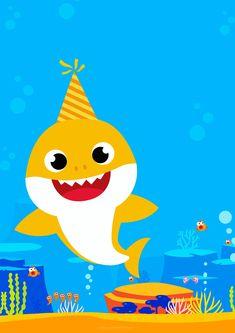 Baby Shark Invitation to edit 3 Shark Birthday Cakes, Trolls Birthday Party, Boy Birthday Parties, Free Baby Shower Invitations, Baby Sprinkle Invitations, Printable Invitations, Happy Birthday Signs, Baby First Birthday, Shark Photos