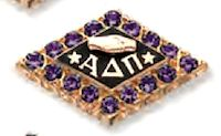 Alpha Delta Pi badge, with amethysts. My Favorite Color, My Favorite Things, Alpha Delta, Amethysts, Sorority And Fraternity, Greek Life, New Pins, Pin Badges, Pirates