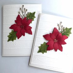 Christmas Card Crafts, Homemade Christmas Cards, Stampin Up Christmas, Christmas Cards To Make, Xmas Cards, Poinsettia Cards, Christmas Poinsettia, Christmas Invitations, Winter Cards