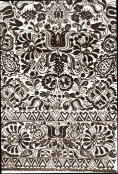 wall decoration in Slovak cottage Folk Embroidery, Embroidery Patterns, Pattern Art, Pattern Design, Slavic Tattoo, Stencils, Paradise Garden, Mexican Folk Art, Body Art Tattoos