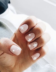 nude nails with white star nail art nail designs for summer nail designs for short nails step by step full nail stickers nail art stickers at home nail art strips Nude Nails, My Nails, S And S Nails, Coffin Nails, Stiletto Nails, Glitter Nails, Blush Nails, Gold Nails, How To Do Nails