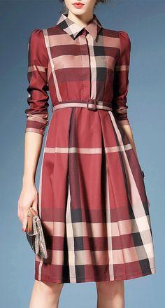 Hit Color Plaid Shirt Dress