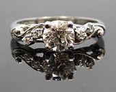 Fabulous and Feminine 14K White Gold 1950s Curvy Diamond Engagement Ring - RGDI140P