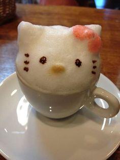 Hello Kitty Latte Art Cafe ChocoTea in Sakado-city, Saitama Coffee Latte Art, I Love Coffee, Coffee Cafe, My Coffee, Barista, Starbucks, Hello Kitty Collection, Coffee Design, Kakao