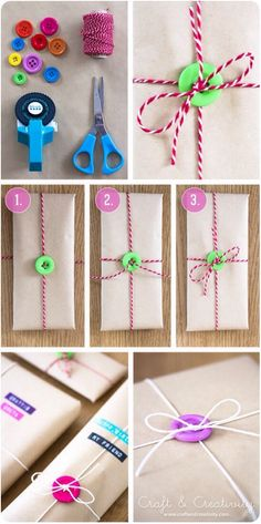 All you need to do is add buttons to your gift wrap. A very unique look! I will definitely be doing this!