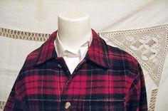 KILLER-Vtg-70s-Eddie-Bauer-Mens-Red-Tartan-Plaid-Wool-Bld-Shirt-Jacket-Sm