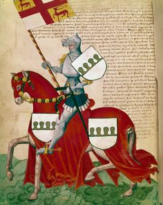 Knight with Green and White Shields on Red Horse. Miniature from the Capodilista Codex, 15th century. Biblioteca Capitolare, Padua, Italy