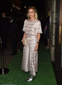 Stunning: Laura Bailey chose a gorgeous metallic weave dress and platform boots for the big night