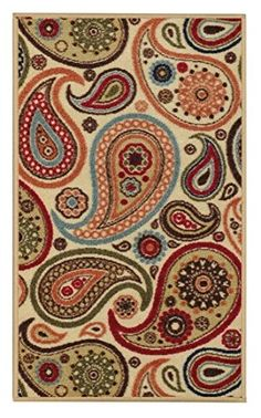 AntiBacterial Rubber Back DOORMAT NonSkidSlip Rug 18x30 Ivory Floral Colorful Interior Entrance Decorative Low Profile Modern Indoor Front Inside Kitchen Thin Floor Runner DOOR MATS for Home -- Click on the image for additional details.