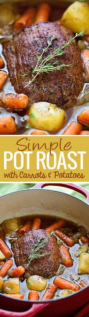 Pot Roast With Carrots And Potatoes - A Simple Recipe For Pot Roast That Tastes Like A French Onion Soup The Meat Is Tender And Delicious And It Requires A Simple 15 Minutes Of Presswork Marzia Little Spice Jar Dutch Oven Recipes, Pot Roast Recipes, Meat Recipes, Slow Cooker Recipes, Dinner Recipes, Cooking Recipes, Game Recipes, Recipe For Pot Roast, Recipies