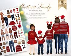 Christmas Family Clipart, Parents and Kids, Holiday Family Graphics, Christmas Gift Ideas, Customiza