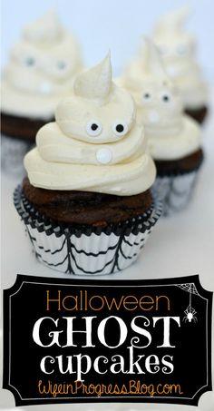 Halloween Ghost Cupcakes from WifeinProgressBlog.com