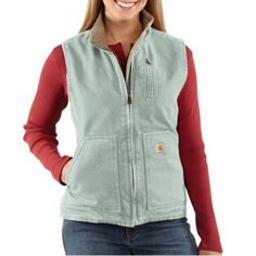Carhartt WV001 - Carhartt Women's Sandstone Mock Neck Vest - Sherpa Lined at Dungarees | love this color
