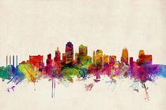 Kansas City Skyline Print By Michael Tompsett