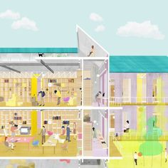 RCA graduate Ohyun Kwon's Short Term Housing for New Labour addresses the housing crisis in Seoul Public Architecture, Architecture Collage, Architecture Drawings, Letra Drop Cap, Axonometric Drawing, Creative Economy, Elevation Drawing, Graduation Post, Social Housing