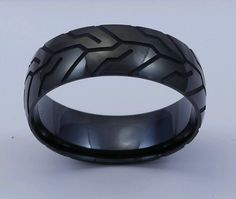 Black Motorcycle Tire Tread Ring by Steel Revolt #SteelRevolt #Band