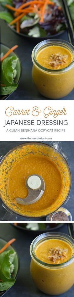 Carrot Ginger Salad Dressing Pin from The Tomato Tart The Tomato Tart www.thetom… Carrot Ginger Salad Dressing Pin from The Tomato Tart The Tomato Tart www. Ginger Salad Dressings, Salad Dressing Recipes, Japanese Salad, Japanese Diet, Japanese Ginger Dressing, Carrot Ginger Dressing, Vegetarian Recipes, Cooking Recipes, Healthy Recipes