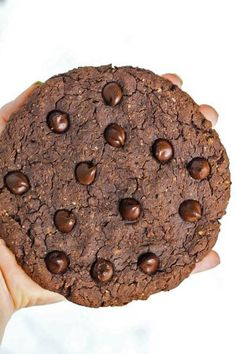 A HUGE chocolate protein cookie that will satisfy your sweet cravings! Healthy enough to have for breakfast, vegan & gluten-free. Plus, it's super tasty!
