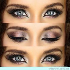 Dramatic brown eye makeup for blue eyes
