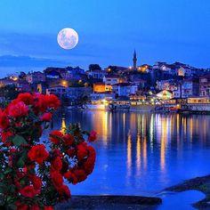 Full moon night over Amasra, Bartın Province, Turkey