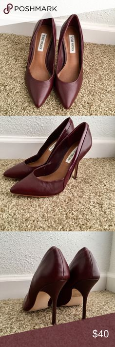 EUC  Steve Madden Heels A delicate pointy toe extends the feminine appeal of a timeless pump stiletto heel.Leather upper/synthetic lining and sole Steve Madden Shoes Heels