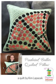 Cool project ~ Pixelated Baller Pillow by Kim Lapacek Orange Fabric, Black Fabric, Pixel Circle, Circle Template, Quilt Binding, Wooden Spools, Thread Spools, Quilted Pillow, Free Motion Quilting