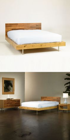 Simple modern platform bed from Dot & Bo. I need to DIY this bed with less space around the sides.