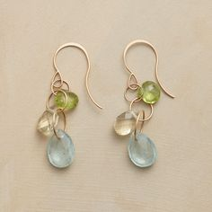 """AU CLAIRE EARRINGS�--�Rings of recycled 14kt gold grasp gems of exceptional clarity: peridot, lemon quartz and aquamarine. French wires. By Melissa Joy Manning, handmade in USA. 1-3/4""""L."""