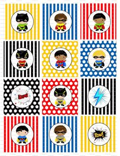 Superhero Super Hero Birthday Party Cupcake Toppers - Printable - Digital. $2.99, via Etsy.