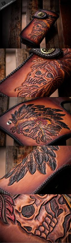 Handmade leather brown indian skull carved biker wallet bifold long wa | EverHandmade