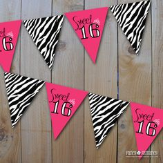Sweet 16 Banner/Hot Pink and Zebra Print/Instant Download/Printable DIY pdf files/7959