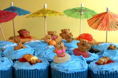 Beach themed cupcakes.  Used them for my daughter's party.  Adorable!
