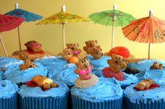 beach themed cupcakes  cute!