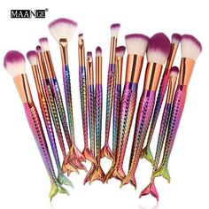 15pcs Mermaid Makeup Brushes Set Eyebrow Eyeliner Blush Blending Contour Foundation Make Up Brush