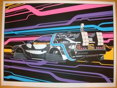"Back to the Future - DMC-12 silkscreen art print (click image for more detail) Artist: Anville Venue: n/a Location: n/a Concert Date: 2010 Edition: signed and numbered out of 100 Size: 24"" x 18"" Condi"