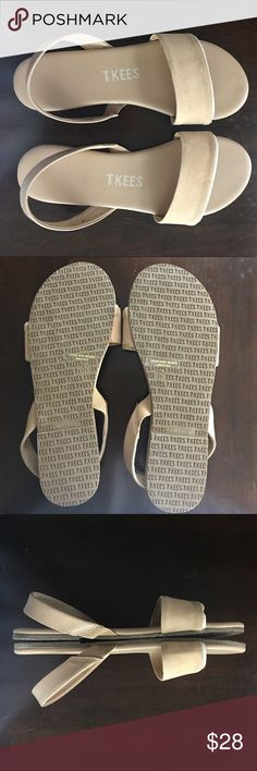 TKEES Suede Sandals New..never been worn. Came damaged from manufacturer- photos above to show. Light colored Suede, super comfortable and stylish tkees Shoes Sandals