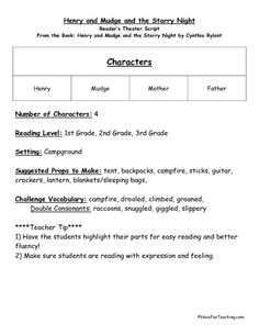 Reader's Theater Script Henry and Mudge and the Starry Night Lesson Plan | Lesson Planet
