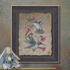 Nostalgic Hummingbirds and Vine Art Whimsical by TwoBananasArt, $20.00