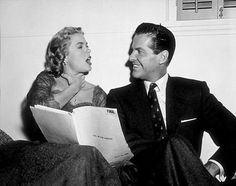 Grace Kelly & Robert Cummings reading their lines for Dial M For Murder 1954