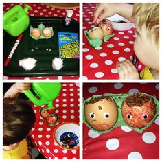 Day 3 #30dayswild making #cressmen in #eggshells #googlyeyes #kidsactivities #growingstuff #nature #life #cleaneating