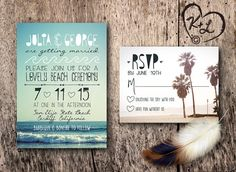 PRINTABLE Bohemian Beach Wedding Invitation Set Boho Chic Gypsy Hippie Ocean Bbq Bonfire Palm Tree Sun Sand Reception RSVP Digital PDF