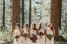 Mismatched white bridesmaid dresses | Gina & Ryan Photography