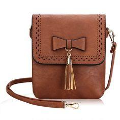Sale 20% (17.98$) - Women Retro Hollow Out Crossbody Bags Casual Bowknot Tassel Shoulder Bags Messenger Bags