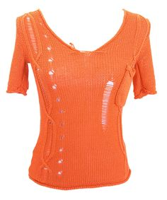 USED WOMEN'S DISTRESSED CABLE LOOSE KNIT PUMPKIN ORANGE SHORT SLEEVE SHIRT #Unbranded #ScoopNeck