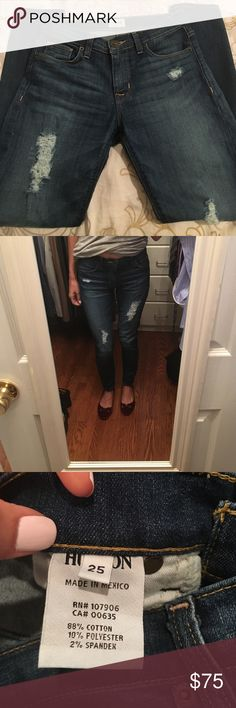EUC Hudson Nico Midrise Frayed Jeans Sz 25 Excellent condition. Worn only twice. Let me know if you have any questions! Hudson Jeans Jeans Skinny