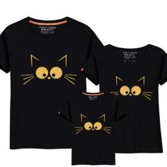 461fc1c09a44 Summer Clothing Family-Child Clothes Casual Cotton Short Sleeve Kitten Printing  T-Shirt Crew