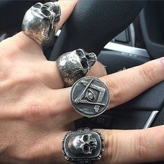 Do you seek to stand out from the crowd and allow your very own individuality glow? Gothic Wedding Rings, Gothic Engagement Ring, Skull Jewelry, Gothic Jewelry, Skull Rings, Fashion Rings, Fashion Jewelry, Biker Rings, Ring Bracelet