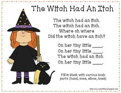 Halloween Fingerplay - The Witch Had An Itch (corrected version) halloween fingerplays