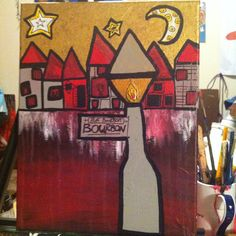 Lights down bourbon paint the town red acrylic by brookeworm, $50.00