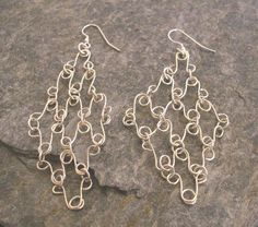 Items similar to Long Sterling Silver Curvy Mesh Chainmaille Earrings, or in Gold on Etsy Long Silver Earrings, Sterling Silver Earrings, Dangle Earrings, Crochet Earrings, Chain Mail, Dangles, Trending Outfits, Unique Jewelry, Handmade Gifts